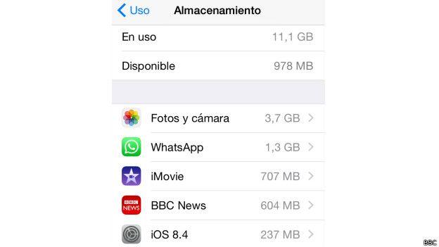 Captura de pantalla del uso de memoria de un iPhone