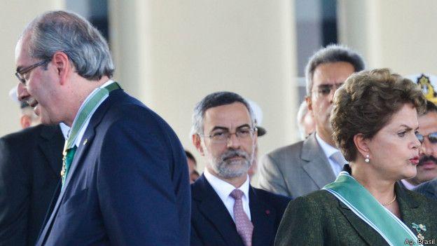 Presidenta brasileña Dilma Rousseff y diputado Eduardo Cunha.