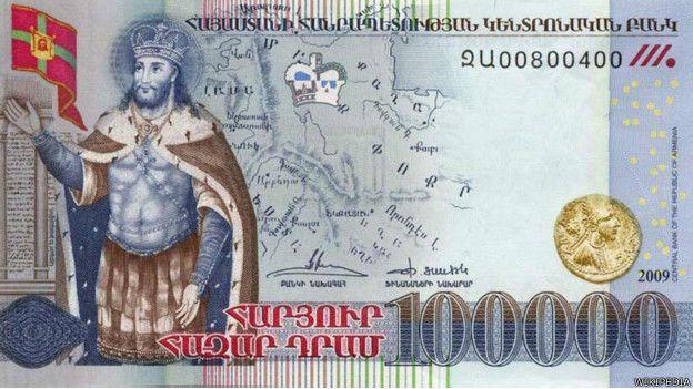 El billete con mayor denominación de Armenia equivale a US$ 209.