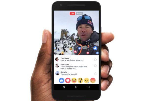 La interfaz de Facebook Live