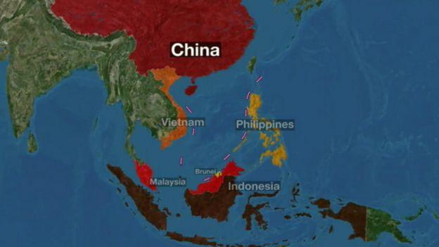 Bản đồ với 'đường chín đoạn' mà Trung Quốc nhận chủ quyền tại Biển Đông