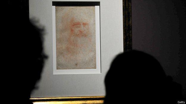Detalle de autoretrato de Leonardo Da Vinci expuesto en 2011