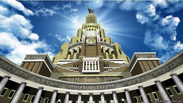 Proyección en computadora de lo que hubiera sido el Palacio de los Soviets