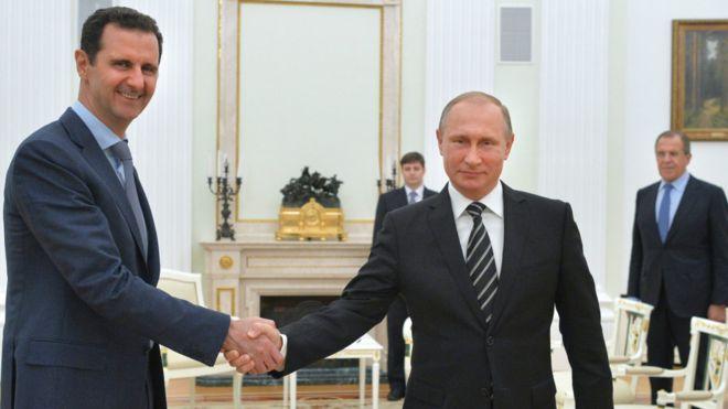 敘利亞總統巴沙爾·阿薩德與俄羅斯總統普京會面