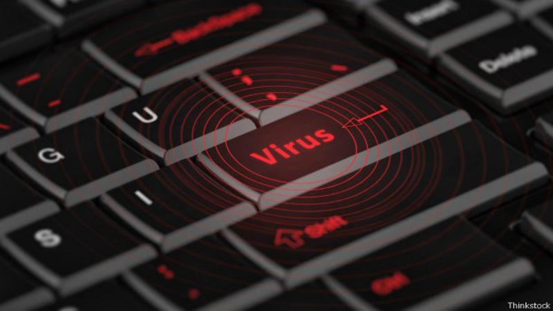Teclado con la palabra virus