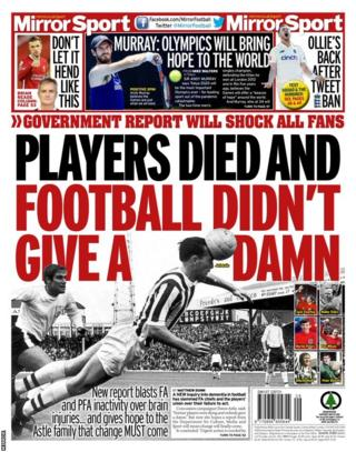 The back page of Thursday's Mirror