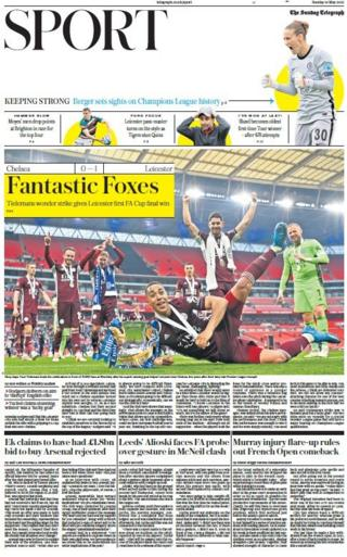 The front page of the Sunday Telegraph sports section