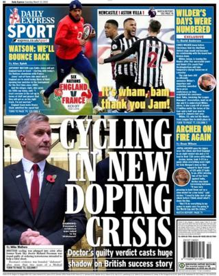 Saturday's Daily Express back page