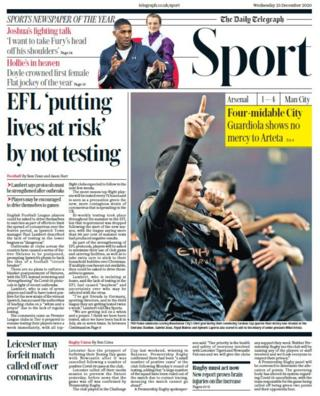 The front page of the Daily Telegraph sport section