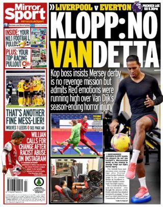 Saturday's back pages: Mirror - 'Klopp: No Vandetta'