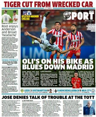 Wednesday's back pages: Metro - 'Oli's on his bike as Blues down Madrid'