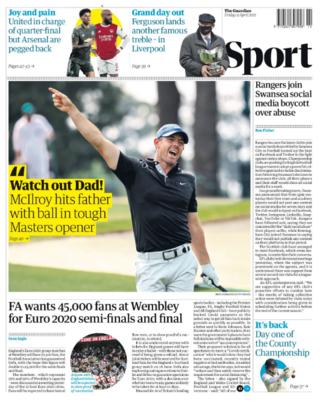 Guardian back page: FA wants 45,000 fans at Wembley for Euro 2020 semi-finals and final