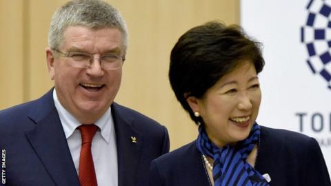 IOC President Thomas Bach with Tokyo Governor Yuriko Koike