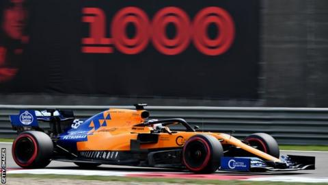 Carlos Sainz of McLaren on track during Chinese Grand Prix practice