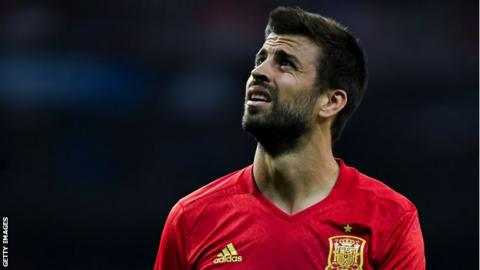 Gerard Pique looks on during the World Cup Qualifier between Spain and Italy at Estadio Santiago Bernabeu in September 2017