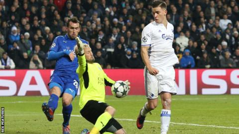 Leicester goalkeeper Kasper Schmeichel (centre) in action against FC Copenhagen
