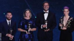 Lionel Messi, Jill Ellis, Jurgen Klopp and Megan Rapinoe