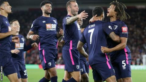 Bournemouth players celebrate Nathan Ake's first goal