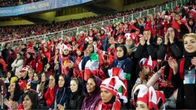 Image result for iranian ladies entered football stadium
