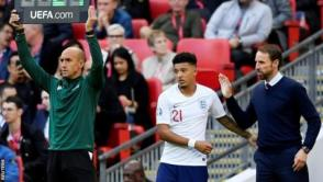 England winger Jadon Sancho prepares to come on for England against Bulgaria