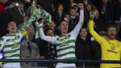 Celtic celebrate their League Cup final win last season