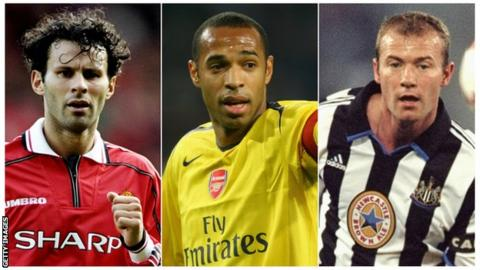 Ryan Giggs, Thierry Henry & Alan Shearer