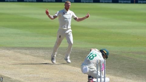 England all-rounder Ben Stokes celebrates after dismissing South Africa captain Faf du Plessis