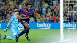 Ansu Fati celebrates scoring against Valencia