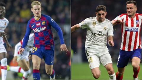 sport Barcelona's Frenkie de Jong & Real Madrid's Fede Valverde
