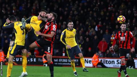 Olivier Giroud scores Arsenal's equaliser against Bournemouth