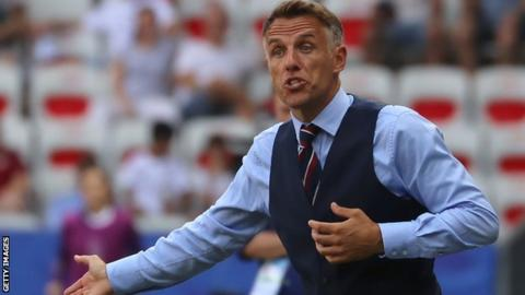 Phil Neville on the touchline managing England at the Women's World Cup