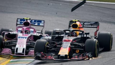 Force India's Esteban Ocon, left, and Red Bull's Max Verstappen