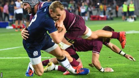 Centre Rory Hutchinson scored twice in his first Test start to press his case for World Cup selection