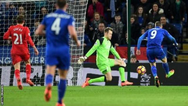 Jamie Vardy scores against Liverpool