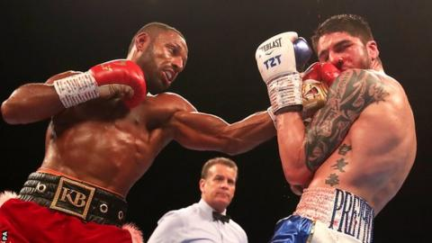 Kell Brook (left) on the attack