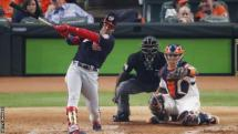 Washington Nationals' Juan Soto hits a solo home run against Houston Astros in game one of the World Series