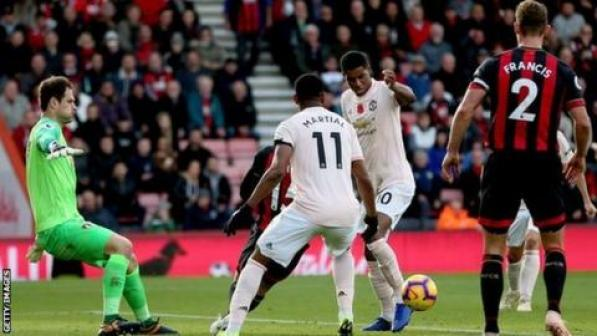 Marcus Rashford bundled home the winner in second-half stoppage time to earn United all three points