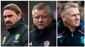 Norwich head coach Daniel Farke, Sheffield United manager Chris Wilder and Aston Villa head coach Dean Smith