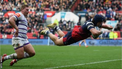 Bristol's Harry Thacker scores against former side Leicester Tigers