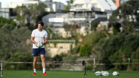 sport New Zealand and Blues back Beauden Barrett has been doing kicking practice in isolation