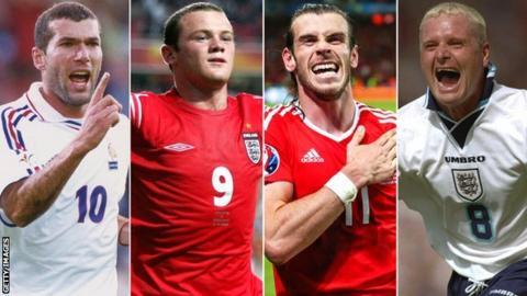 A split picture of Zinedine Zidane, Wayne Rooney, Gareth Bale and Paul Gascoigne