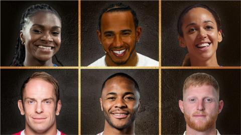 sport Dina Asher-Smith, Lewis Hamilton, Katarina Johnson-Thompson, Alun Wyn Jones, Raheem Sterling and Ben Stokes