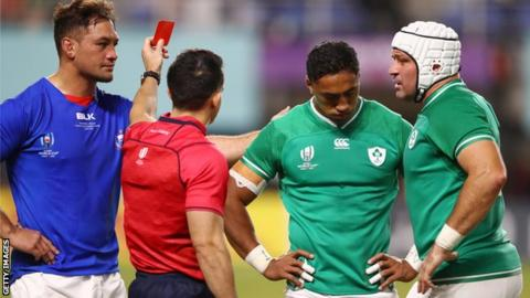 sport Referee Nic Berry red cards Ireland's Bundee Aki in Saturday's World Cup game against Samoa