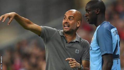 Pep Guardiola and Yaya Toure