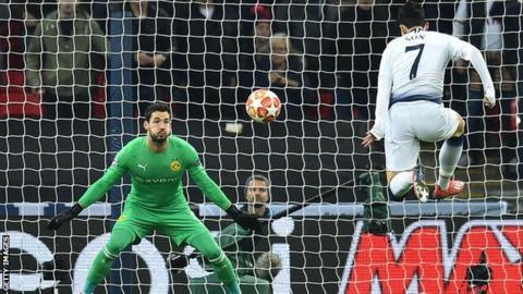 Son Heung-min scoring for Tottenham against Borussia Dortmund