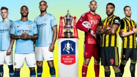 Players from Manchester City and Watford line up with the FA Cup trophy