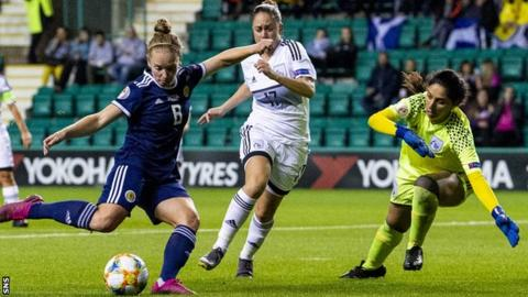 Kim Little completes her hat-trick for Scotland against Cyprus