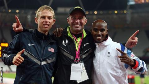 sport Alberto Salazar, Mo Farah and Galen Rupp (left) at the London 2012 Olympics