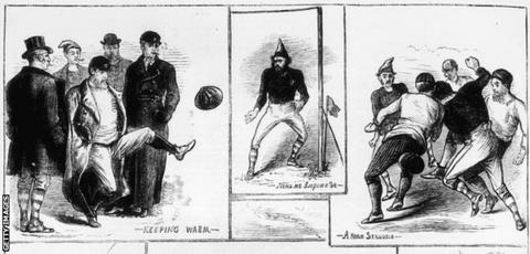 sport Scenes from England's first international, against Scotland in 1872, published in The Graphic on 14 December 1872. The original artist was a W. Ralston