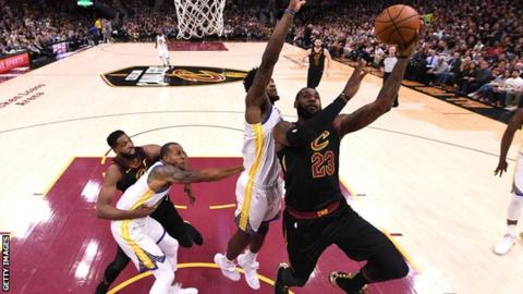 LeBron James shoots against the Golden State Warriors